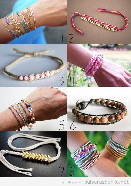 Ideas para decorar pulseras de nudos e hilos con cuentas y abalorios