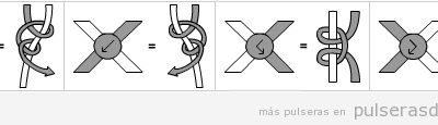 Diagrama para pulsera de macramé con instrucciones