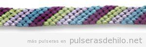 Pulsera de hilos con nudos, patrón rayas horizontales