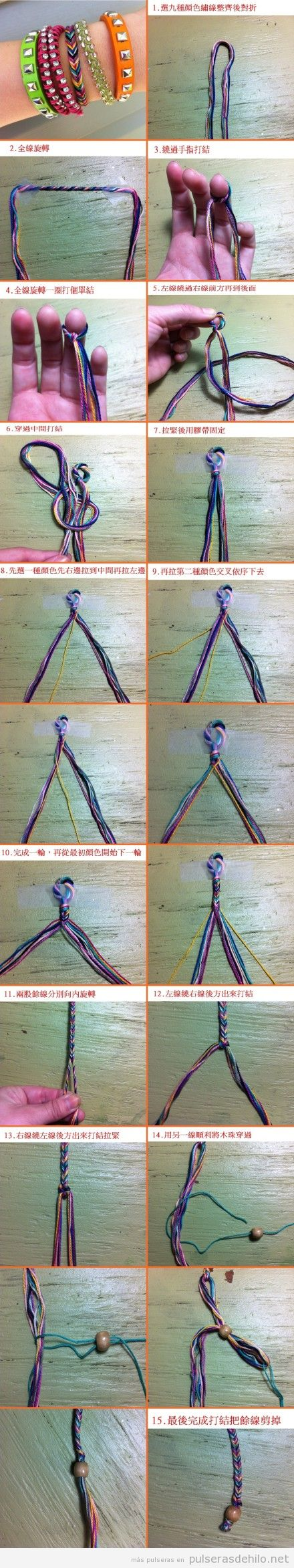 tutorial paso a paso, pulsera de hilo trenzado