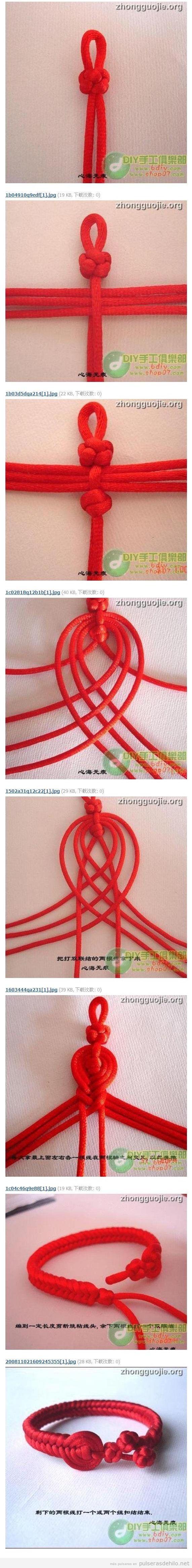Tutorial para hacer una pulsera de nudos con cola de ratón, estilo asiático