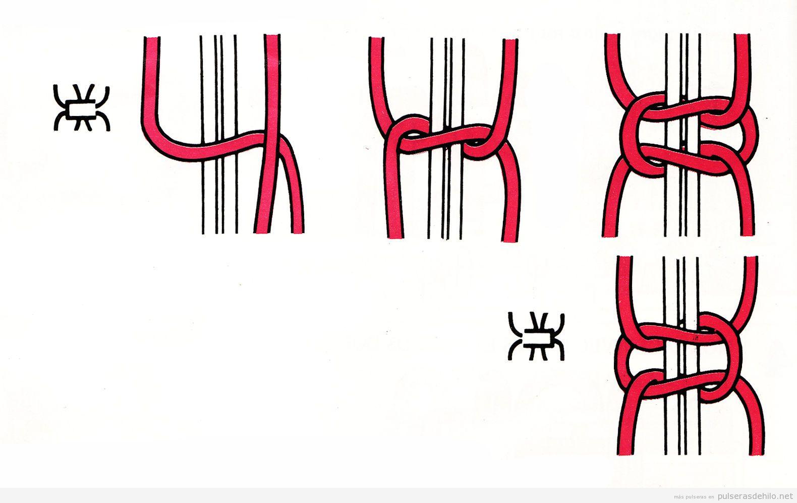 Nudo sencillo y fácil para hacer pulseras de hilo paso a paso