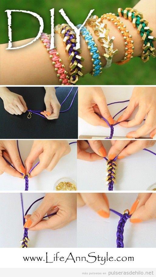 Tutorial, pulsera DIY con cadenas e hilos trenzado