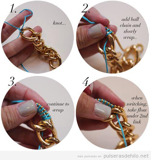 Tutorial paso a paso, pulsera DIY de hilo y cadenas
