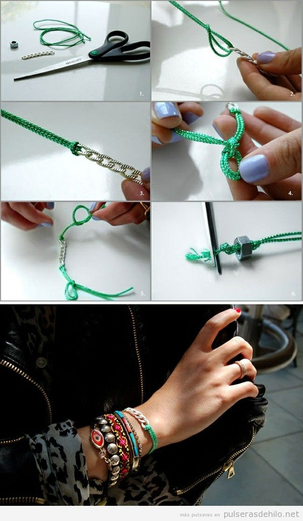 Pulsera hecha con cuerdas y cadenas, paso a paso