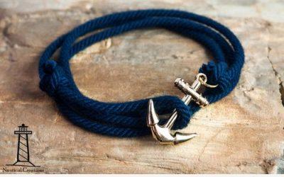 Pulsera de estilo marinero con cuerdas y anclas