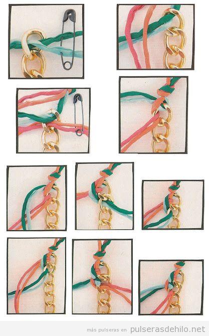 Pulsera DIY hecha de cadena y trapillo trenzado, paso a paso