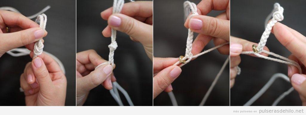 Tutorial para hacer una pulsera con hilos y tuercas paso a paso, 2