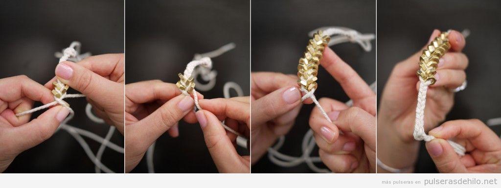 Tutorial para hacer una pulsera con hilos y tuercas paso a paso, 4