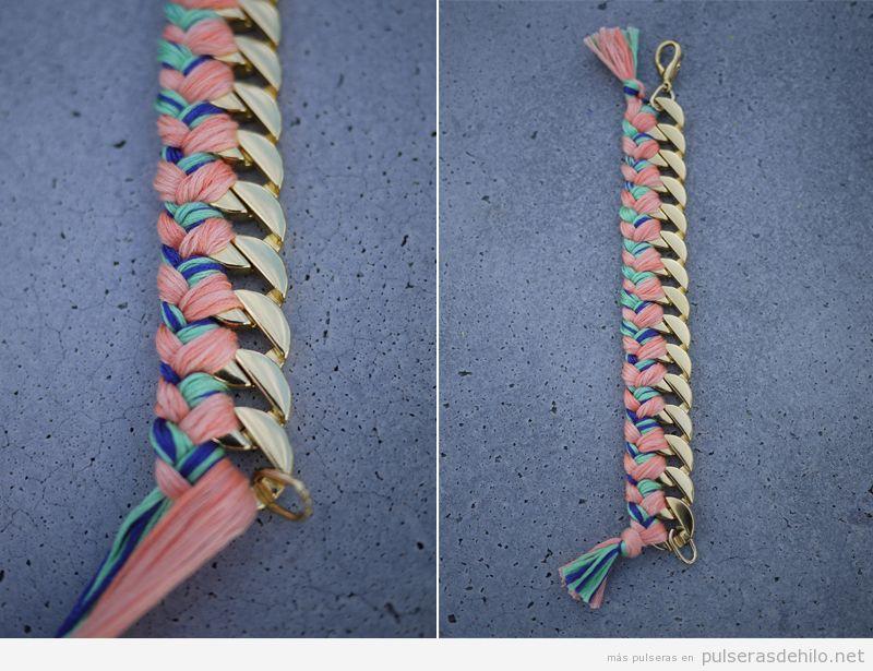 9629351f4884 Tutorial para aprender a hacer una pulsera de cadena e hilos