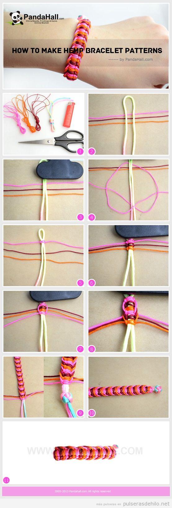 Cómo hacer una pulsera de hilo de cola de ratón e hilo de cáñamo