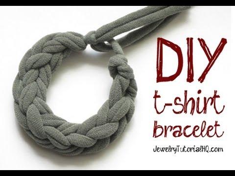 Cómo hacer una pulsera con las tiras de una camiseta de algodón, paso a paso
