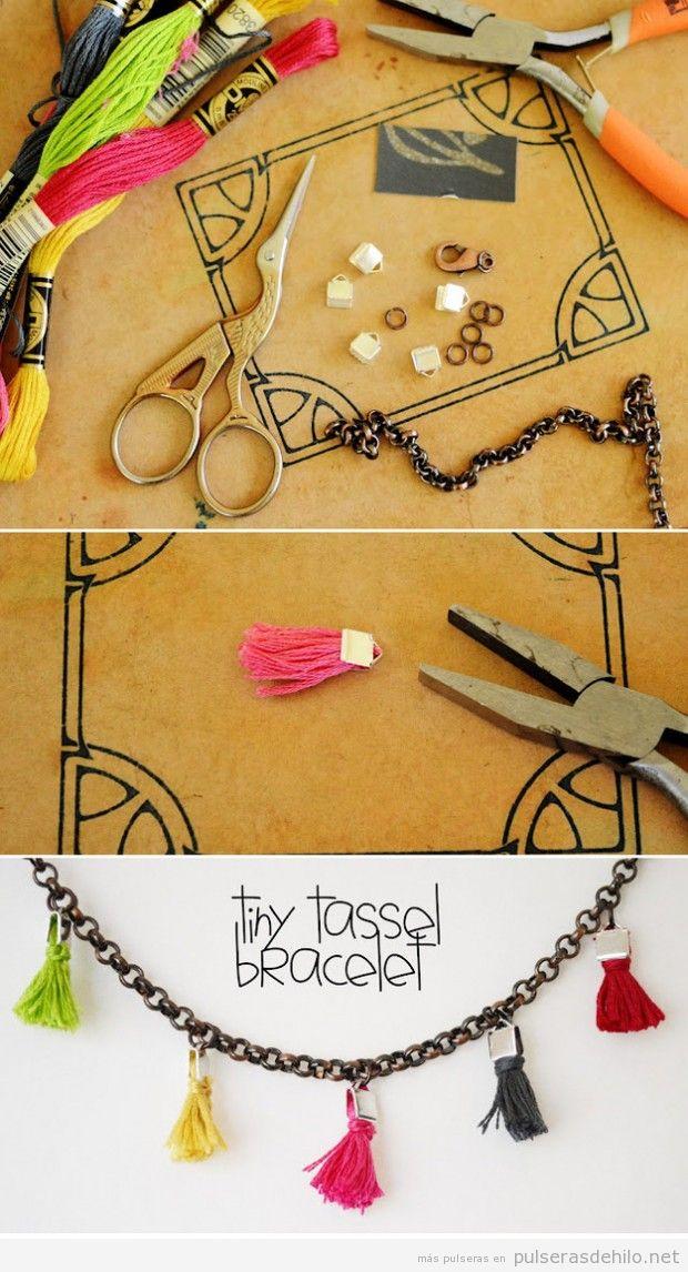 C mo hacer una pulsera con cadenas y borlas de hilos paso - Como hacer borlas de hilo ...