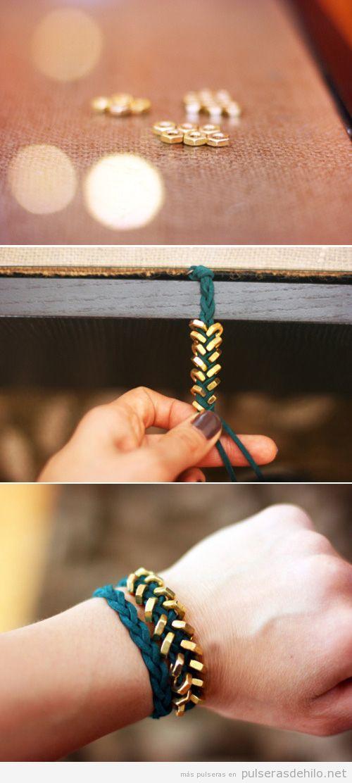 Pulsera DIY de hilo trenzado y tuercas, tutorial paso a paso