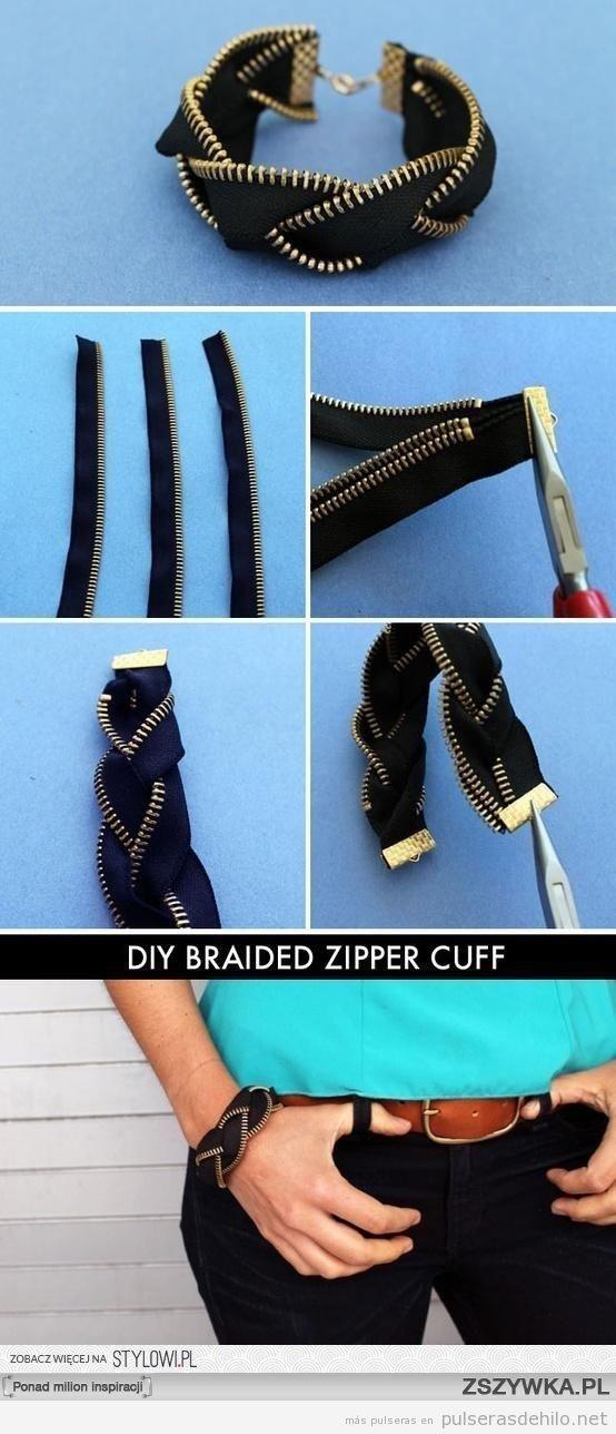 Cómo hacer una pulsera con cremalleras trenzadas, paso a paso