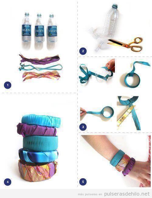 Tutorial paso a paso, pulsera hecha con plástico de botella y tela