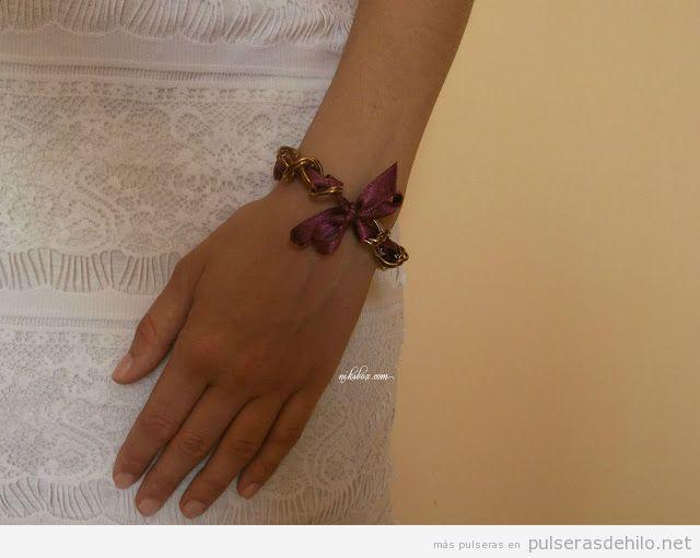 Tutorial paso a paso, pulsera con cadenas y cintas de seda, muy facil