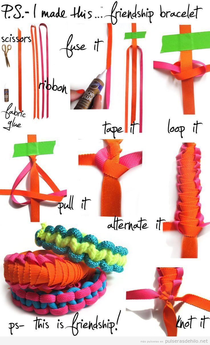Tutorial para aprender a hacer una pulsera con cintas o lazos