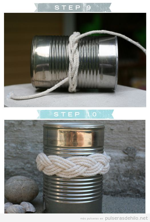 Tutorial para hacer una pulsera con un cordón y una lata, paso a paso