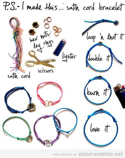 Cómo hacer un brazalete de hilo satinado y con tuercas o anillos, paso a paso