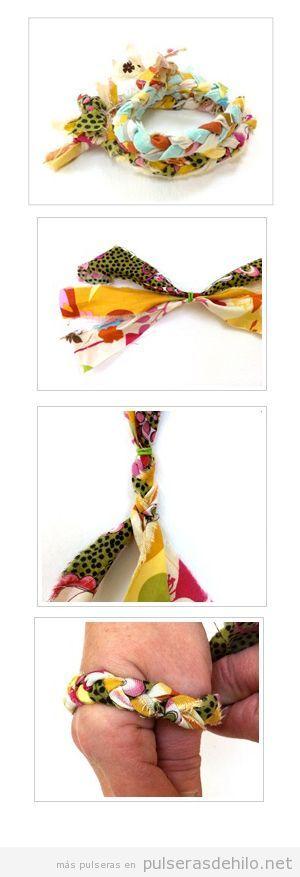 Pulsera DIY hecha con trozos de tela, paso a paso
