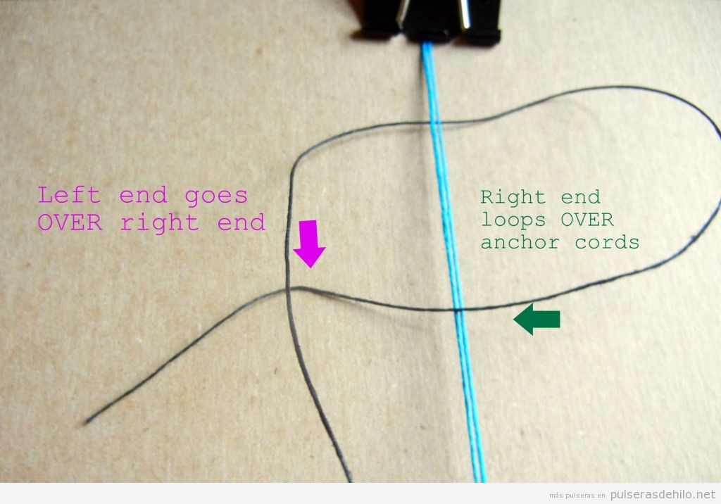 Tutorial pulsera hilos con nudos, paso 2