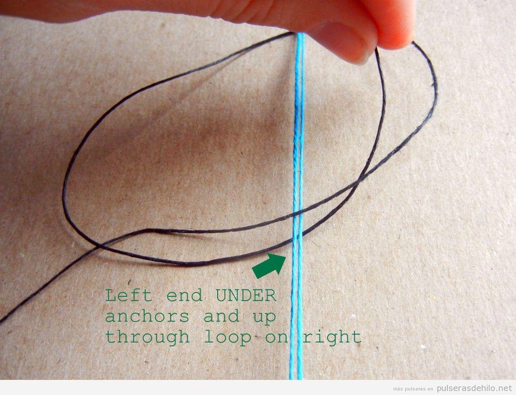Tutorial pulsera hilos con nudos, paso 3