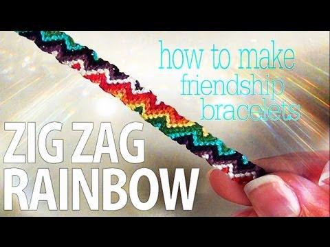 Cómo hacer una pulsera de hilos en zigzag con los colores del arco-iris