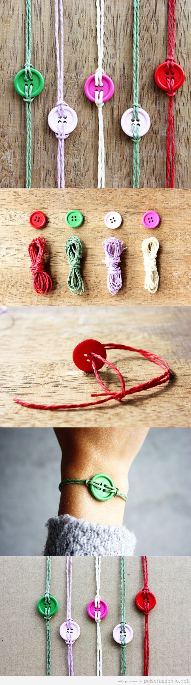 Pulsera DIY hecha con cuerdas y botones de colores, tutorial