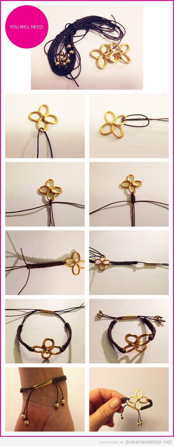 Tutorial para hacer una pulsera de nudos con hilos de cuero y charms, paso a paso