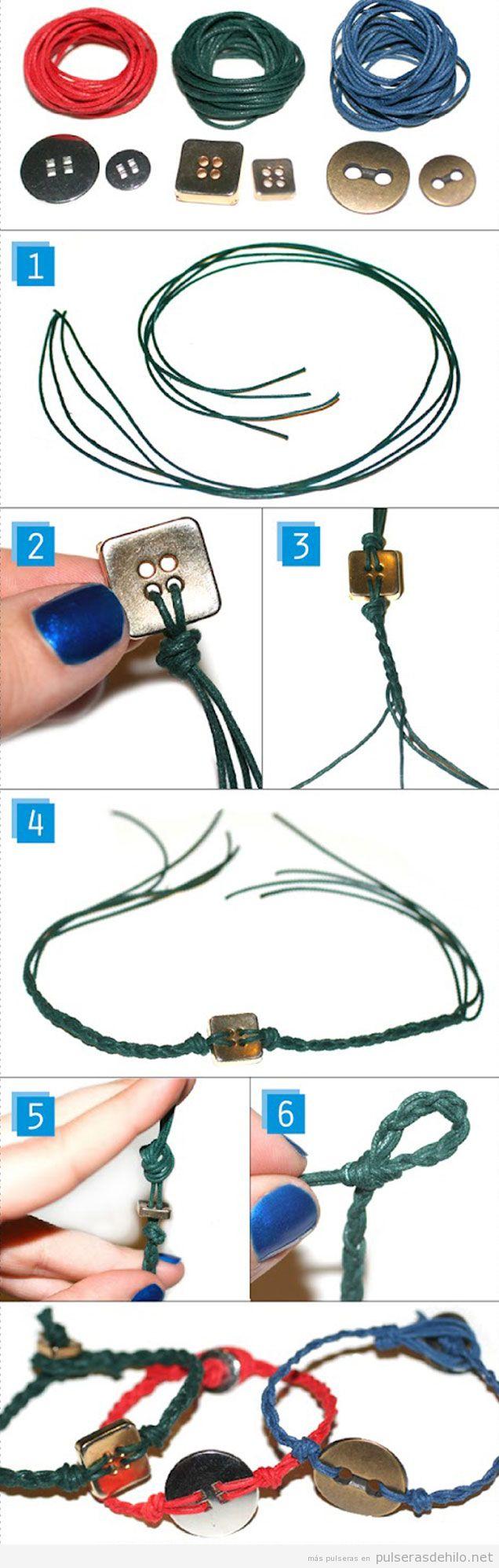 Pulsera de cuerdas y botones, tutorial paso a paso