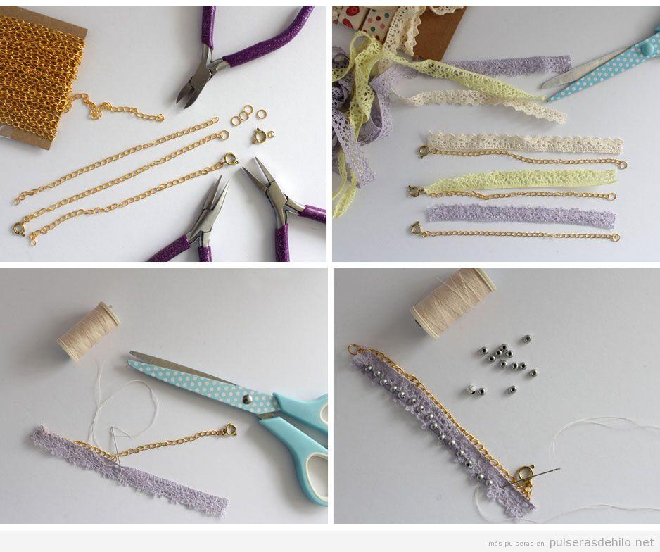 Pulsera DIY hecha con cadena, cinta de encaje y cuentas, tutorial a ...