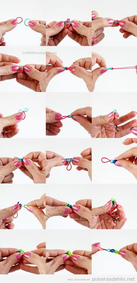 tutorial pulseras de gomas fácil sin telar 3
