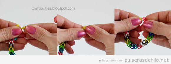 tutorial pulseras de gomas fácil sin telar 2