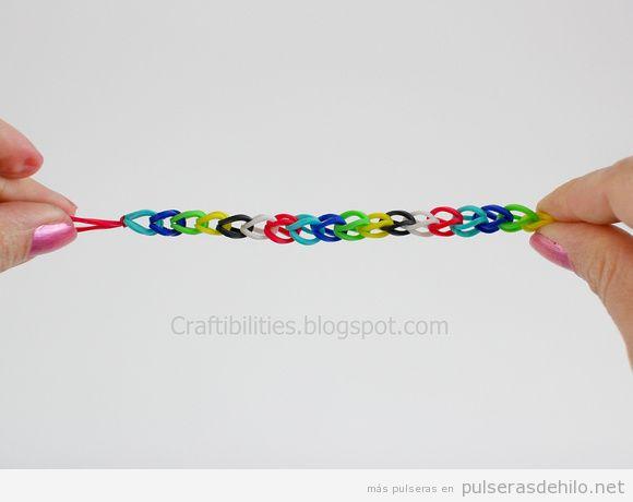 tutorial pulseras de gomas fácil sin telar 1