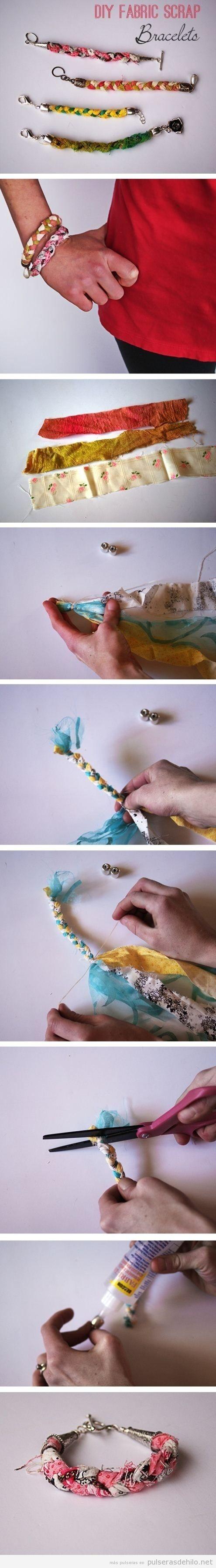 Tutorial para aprende ra hacer uan pulsera DIY hechas con retales