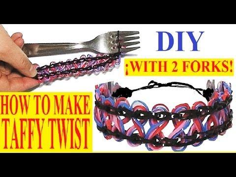 Cómo hacer una pulsera de gomas sin telar, sólo con un tenedor (videotutorial)
