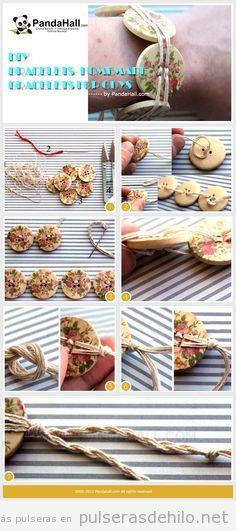 Tutorial para hacer una pulsera DIY con hilos y botones