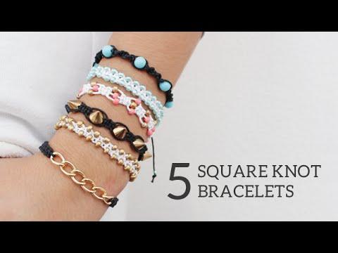 5 pulseras de la amistad DIY con nudo cuadrado (videotutorial)