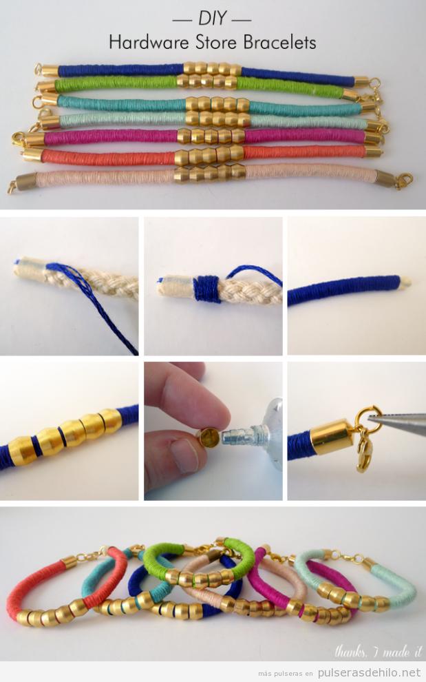 Tutorial pulsera hecha con materiales de ferretería