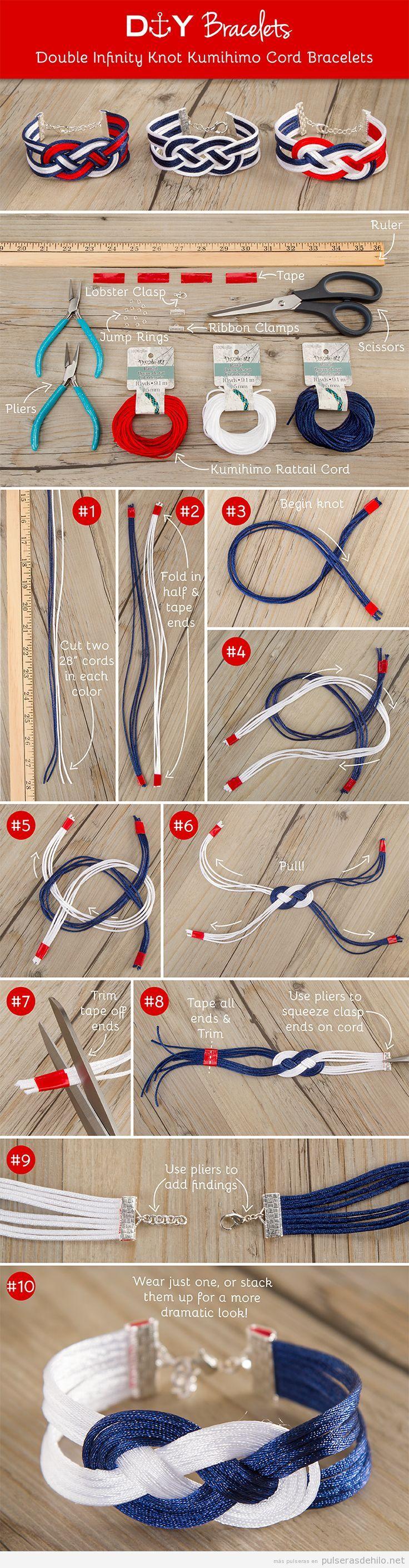 Aprende a hacer una pulsera de hilos con el nudo infinito estilo marinero DIY