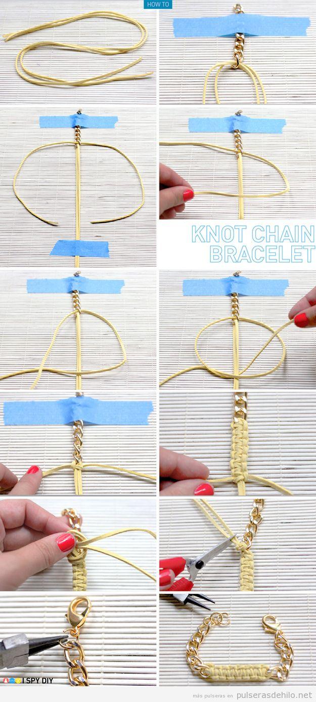 Aprende a hacer una pulsera con cadenas y cinta de antelina, paso a paso