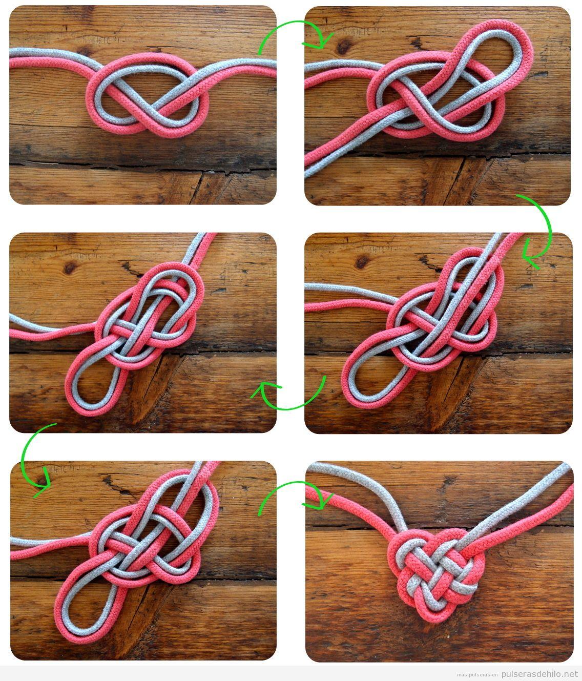 Cómo hacer una pulsera o collar de corazón céltico con dos cordones, tutorial