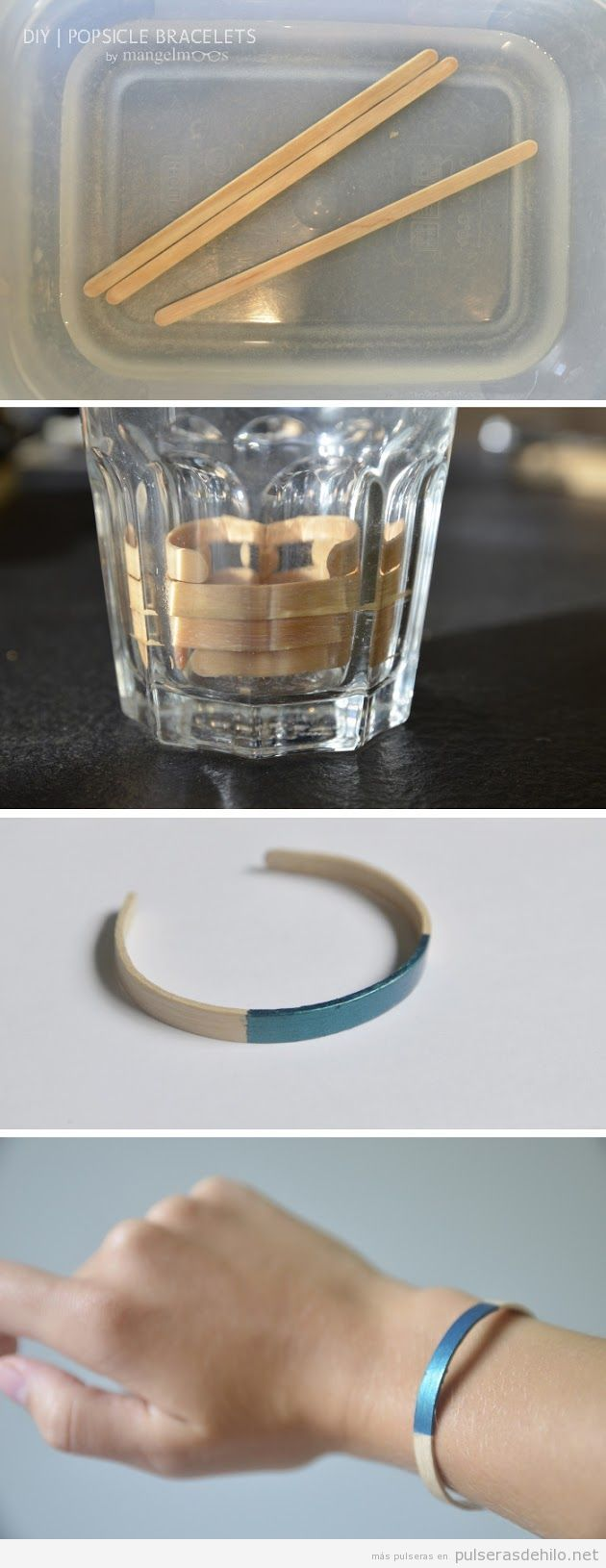Tutorial para hacer una pulsera con palitos de madera