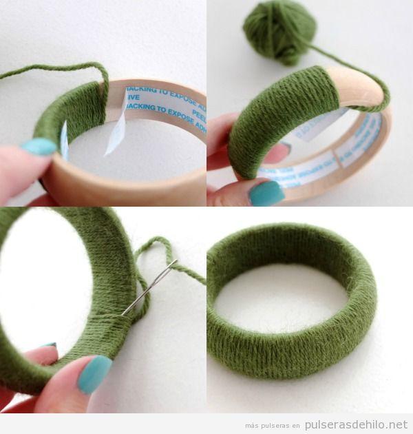 Tutorial para hacer un brazalete de madera decorado con lana, muy fácil de hacer