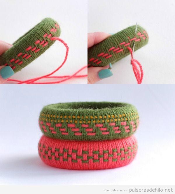 Tutorial brazalete madera con lana paso 5