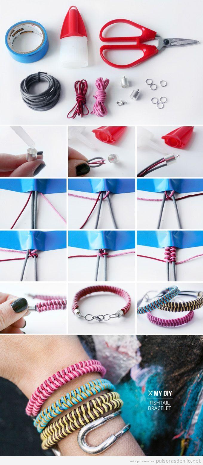 Pulsera DIY hecha con cables e hilos de cola de ratón, paso a paso