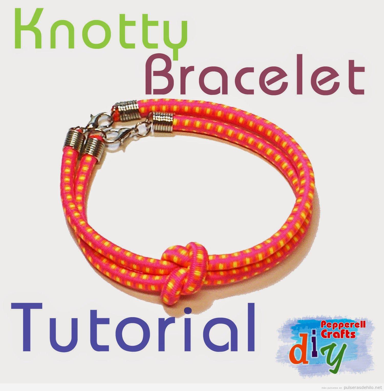 Cómo hacer una pulsera usando cuerda elástica y con un nudo super fácil, paso a  paso