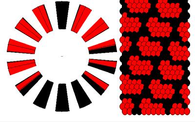 Patrón para hacer una pulsera kumihimo con estampado de corazones