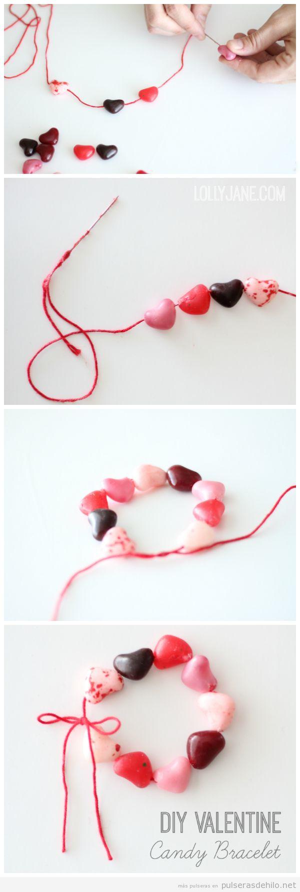 Pulsera caramelos forma corazón para regalar en San Valentín